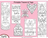 50% OFF SALE NEW! Valentine Love Color-Your-Own Bookmarks  Bible Journaling Tags Tracers Stickers Instant download Scripture Printable