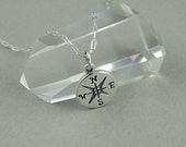 Tiny Charm Compass Necklace - sterling silver, compass charm, womens and girls jewelry