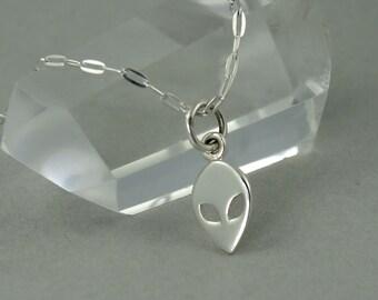 Alien Necklace - Sterling Silver Tiny Charm Necklace, Girls Jewelry, Girls Necklace, Tiny Charms, Charm Bracelet Charms