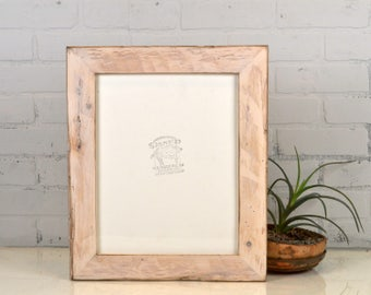 "11x14"" Picture Frame in 2.25"" Wide Reclaimed Pine with White Wash Finish - Upcycled 11x14 Frame - IN STOCK Same Day Shipping"