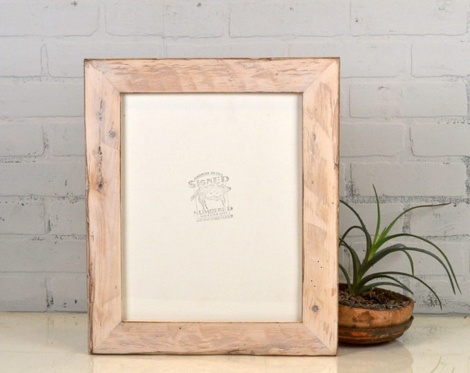 """11x14"""" Picture Frame in 2.25"""" Wide Reclaimed Pine with White Wash Finish - Upcycled 11x14 Frame - IN STOCK Same Day Shipping"""