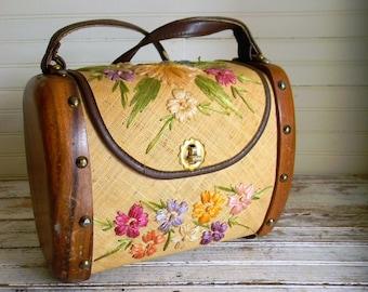 Vintage Boho Purse, Raffia Purse, Floral Raffia 1960s Shoulder Bag, Tote, Novelty Purse, 1960s 1970s Novelty Purse, Bags By Whidby, Inc.