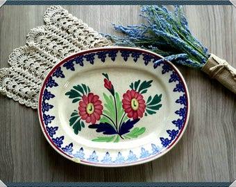 Antique Auld Heather Ware made in Scotland Flower Platter circa 1880