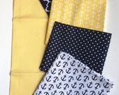Fat Quarter set of 5 | In the Navy | Navy, Yellow & White | Anchors | Solid fabric | Small Dots | Moroccan Print | Ready to ship!