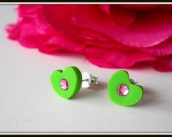 Heart Earrings - Green and Pink Earrings - Valentine's Day - Swarovski Earrings - Crystal Heart Earrings - Post Earrings - Stud Earrings