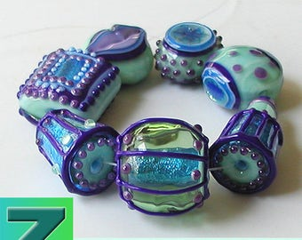 Royal Mint Sampler - 7 beads - lampwork by Sarah Moran