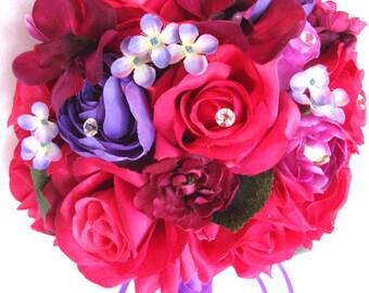 "17 piece package Wedding bouquets Bridal bouquet Wedding Silk flowers D.PINK FUCHSIA BEGONIA Purple Sangria Wedding ""RosesandDreams"""