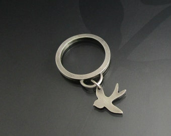 sterling silver swallow charm ring -  bird ring - swallow ring - sterling silver ring - bird jewelry - boho jewelry