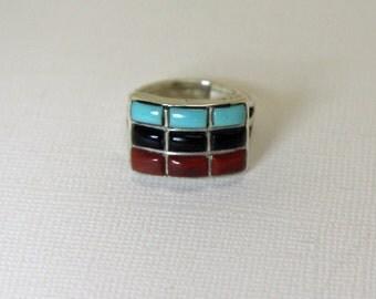 Native American Silver Ring Turquoise Onyx Jasper
