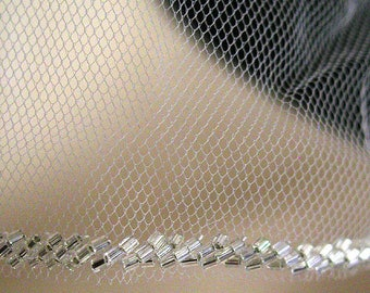Silver Beaded Edge Wedding Veil, Bugle Bead Edge Veil, Silver Beaded Veil