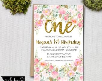 Children's Birthday Party Invitation, Baby Invite, Girls Birthday Invitation, Childs Birthday Invite, Party Invitation, 1st Birthday Party