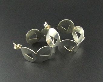 Sterling Silver Hoop Earrings, Sterling Silver Earrings, Half Hoop Earrings