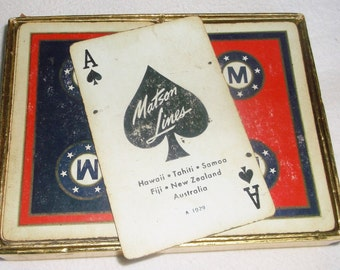 Vintage 1929 MATSON LINES cruise ship Playing Cards • double deck • 54 cards each
