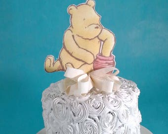 Classic Pooh bear cake topper, fabric Winnie the Pooh birthday or shower party decoration G224 baby shower topper