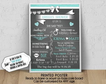 """PRINTED Bridal Shower Party Poster, 11"""" x 14"""", 16"""" x 20"""", 18"""" x 24"""", Chalkboard Look Sign, Aqua Blue Accents, White Bow, Engagement Ring"""
