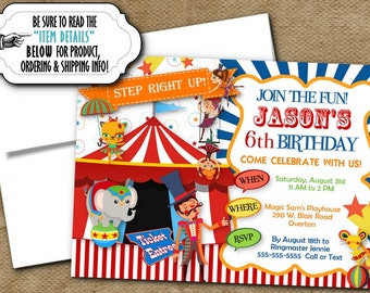 Circus Theme Invitations, Invite with Envelope, Circus, Carnival Theme, Ringmaster, Circus Animals, Big Top, Red, Blue, Yellow, Green