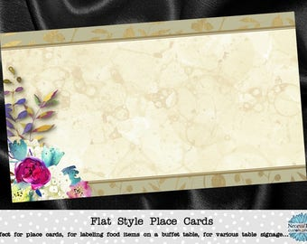 10 Flat Style Place Cards, Buffet Food Label, Name Cards, Watercolor Florals, Flowers, Wedding, Bridal or Baby Shower, Birthday, Quinceanera