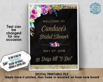 DIGITAL Welcome Sign, 8x10, 11x14, 16x20,18x24, Watercolor Florals, Flower, Bright Colors, Bridal Shower, Baby Shower, Chalkboard Look, JPG