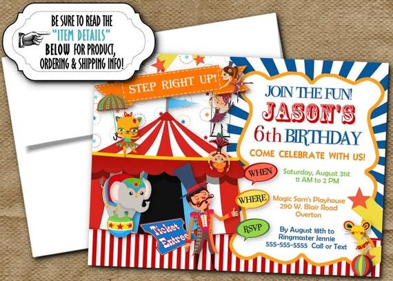 Circus Theme Invitations Invite with Envelope Circus Carnival