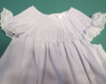 SALE! Ready-To-Smock Girl's Bishop Dress, Size 12 Months, Batiste