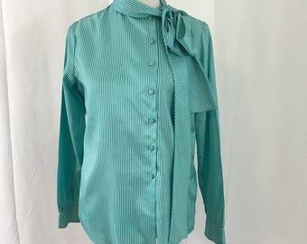 Vintage 1970s Green Striped Secretary blouse with a tie Neck M
