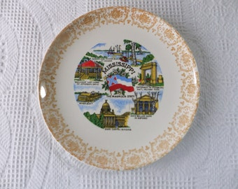 Vintage Mississippi Souvenir State Plate with Yellow Filigree Border Decorative Collector Travel Vacation Retro Wall Decor