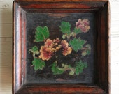 Vintage French decor flower painting on small wood tray chippy frame, Paris Flea Market tole art, rustic decor, Cottage Chic Chinoiserie