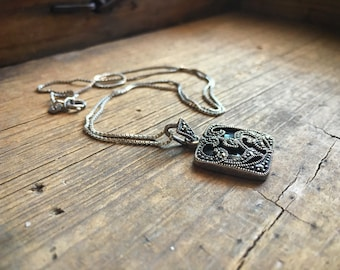 Vintage sterling silver marcasite necklace black onyx, marcasite jewelry, protection pendant for stress grief healing, girlfriend gift