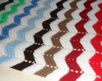 Crochet Afghan(60inL X 32inW) - Crochet Blanket - Crochet Throw - Crochet Bedspread ''CHEVRONS in MULTI-COLORS