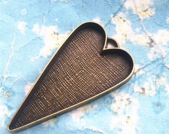 Sale 15pcs 52x30mm antiqued bronze heart shape bezel trays charms/pendants---good quality(fit 29x26mm cabochons)