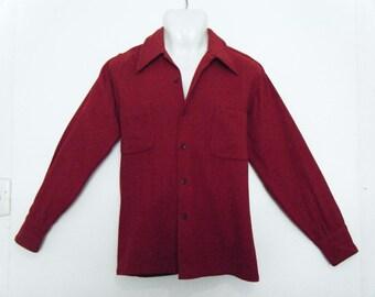 1950s McGregor loop collar mens shirt, size L