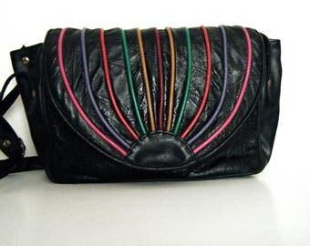 CRAZY 80s RAINBOW PURSE, vegan black leather look vinyl satchel flap style shoulder bag