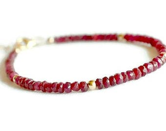 Genuine ruby bracelet, gold filled ruby bracelet, red bracelet, july birthstone