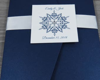 Navy Wedding Invitation, Winter Wedding Invitation, Pocketfold Invitation, Classic Wedding Invitation, Blue and White Invitation, Snowflake