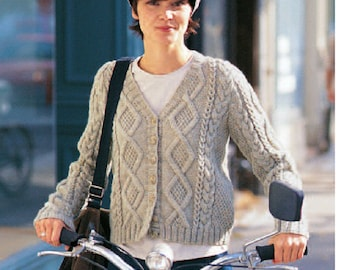 Knitting Pattern - Ladies Cardigan - 34 to 41 inch finished bust size - Cable Detailing