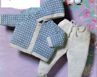 Baby Knitting PATTERN Baby's PRAM set, hooded jacket and leggings