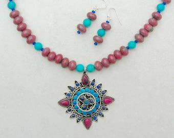 Lovely Tibetan Medallion, Sugilite, Lapis & Turquoise Pendant, Sugilite and Turquoise Beads, OOAK, by SandraDesigns