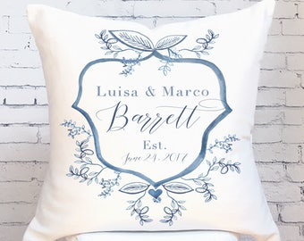 Wedding Gift Cotton Anniversary Gift Personalized Name and Date Wedding Crest Pillow Cover