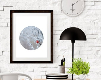 Snow Cardinal Scandinavian Modern Circle Geometric Minimal Printable Instant Download Art Print Wall Art Typography Poster Home Decor Poster