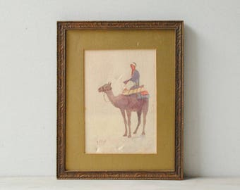 Vintage Camel Water Color Painting, Framed Wall Art