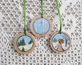 Christmas Wood Ornaments Hand Painted Rustic Winter Nature Trees Cardinal