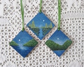 Christmas  Wood  Ornaments -    Hand Painted - Rustic Winter Nature Trees Mountains Moon Snow