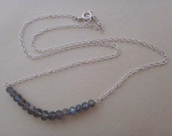 Gray gemstone necklace gray and silver necklace labradorite silver necklace labradorite block necklace labradorite row labradorite bar