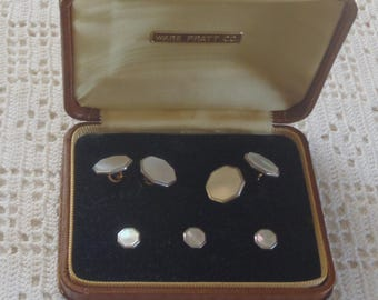 Vintage Cuff Link Set Mother of Pearl Rolled Plate Back Correct Triangle Trademark 5 Pc.