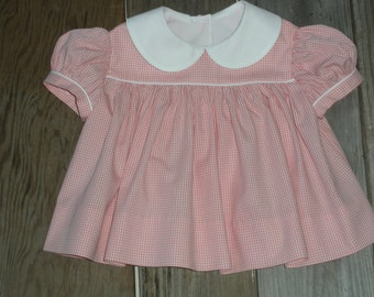Girl's pants and top in pink gingham with white piping trim