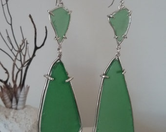Sterling Silver Seaglass Earrings bottle green beachy beach boho large statement jewelry dangle sea glass handmade