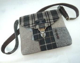 Crossbody bag Crossbody Purse Recycled Crossbody Purse Handbag Recycled wool iPhone pocket Recycled mens suit coat