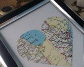 Long distance love custom vintage two map heart