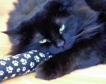 Catnip cat kicker toy, white paw print cotton fabric, stuffed cat gift under 10, cat birthday, fun cat toy, interactive cat toy
