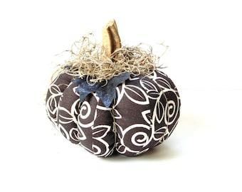 Fabric pumpkin, brown white stuffed pumpkin, Halloween Thanksgiving home decor, real stem,  handmade pumpkin